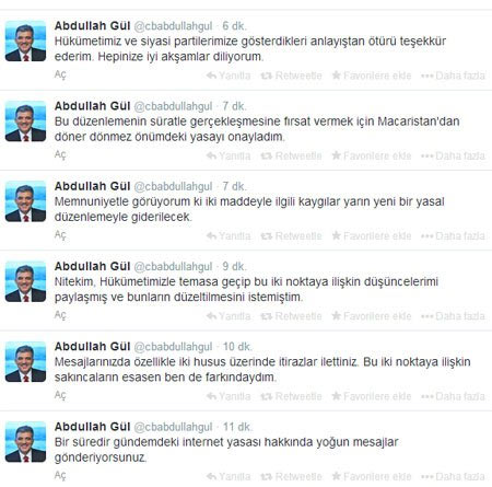 Cumhurbaşkanı Abdullah Gül tweet