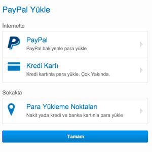PayPal Nakit Kart Para Yükleme